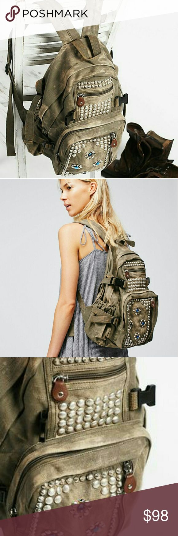 Free people studded backpack New with tags Studded  Cotton  Green Free People Bags Backpacks