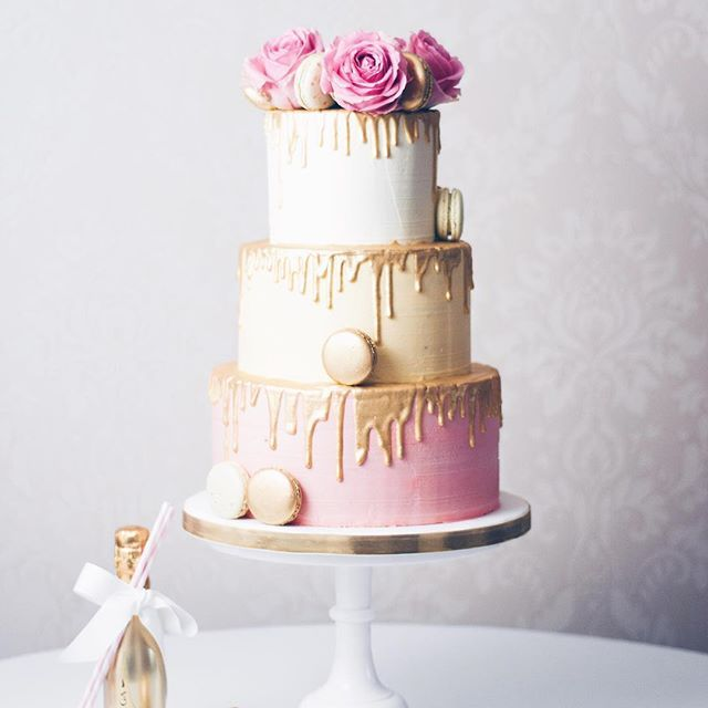Gold drip wedding cake! This was one fun cake to make! From top to bottom tier... Vanilla Confetti with Madagascan vanilla buttercream, Salted Caramel filled chocolate layers with salted caramel buttercream and finally our Raspberry Chambord flavour with Chambord infused raspberry preserve and pink raspberry buttercream!