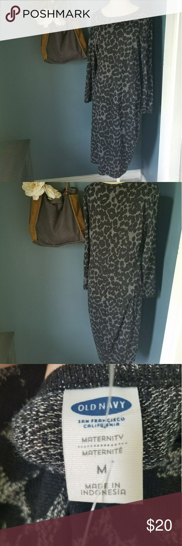 Old Navy Maternity dress in dark cheetah knit Worn once for my second child's baby shower, was a huge hit! Really flattering with a baby bump, can be worn without one too afterwards for a few month ya know ;) soft material and clean - no smoking, no pets. Open to trades and offers! Old Navy Dresses
