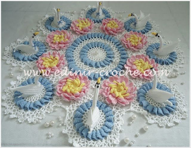 Edinir-Croche: toalha de croche lago dos cisnes
