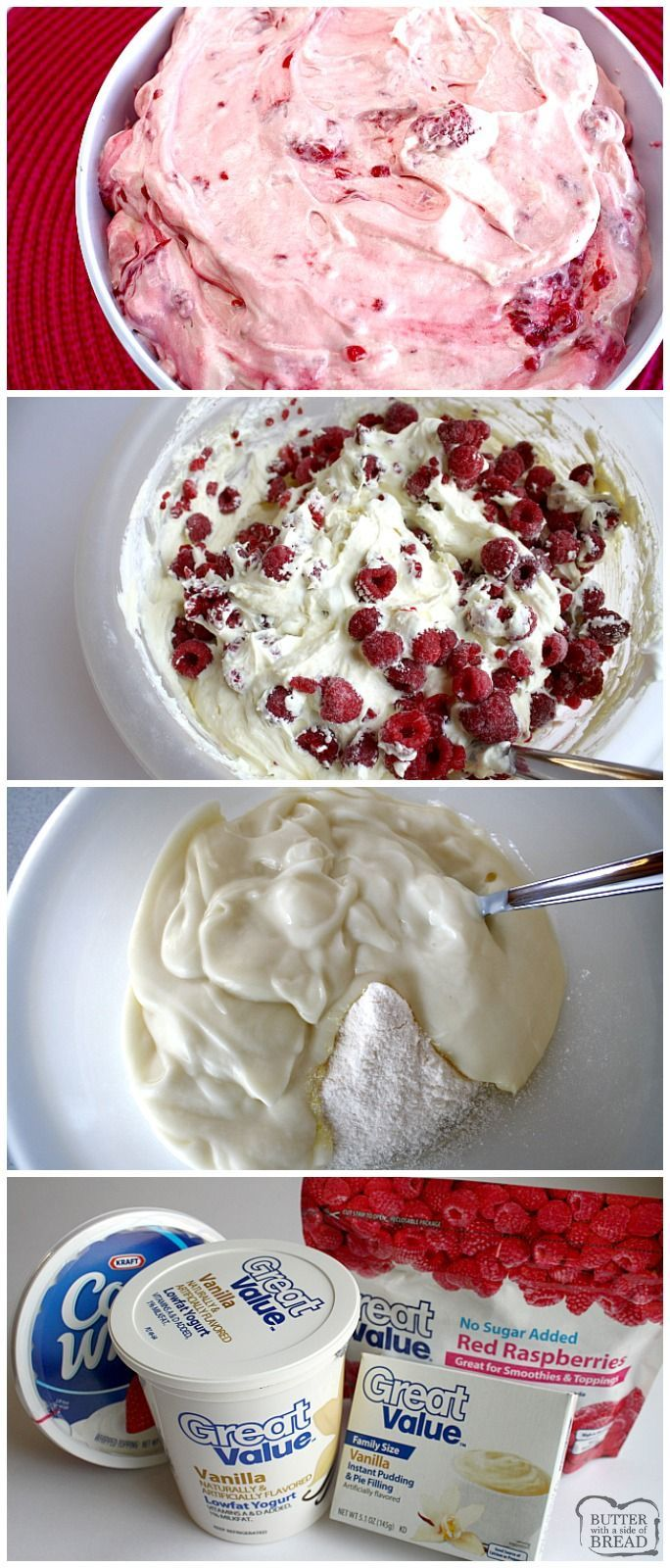 Super easy recipe for classic Raspberry Vanilla Jello Pudding Salad! Just 4 ingredients and takes only a few minutes to make. via @ButterGirls