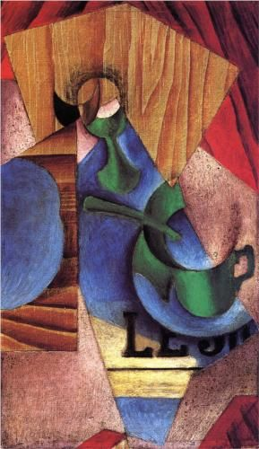 Juan Gris (1887 - 1927)   Synthetic Cubism   Glass, Cup and Newspaper - 1913