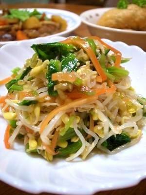 「野菜たっぷりナムル」思いっきりお野菜を食べたい時に♪格安な豆もやしで食べごたえのある1品。【楽天レシピ】