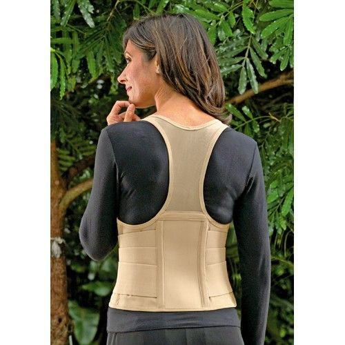Cincher Female Back Support XXX-Large Tan -   Beige. XXXLarge fits 50 -54 waist dress size 22-26. Designed to be worn over womens clothing. Fully constructed and engineered from high density power mesh vertical spiral steel stays and wide elastic bands. Emphasizes spinal alignment and posture through compression to the abdomen and lower back. Flexible spiral stays maintain vertical support. Encourages good posture while it protects.
