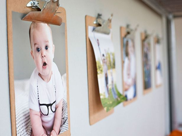 Display Photos & Kids' Art w/ Hanging Clipboards --> http://www.hgtv.com/decorating-basics/25-new-ways-to-use-your-old-stuff/pictures/page-11.html?soc=pinterest