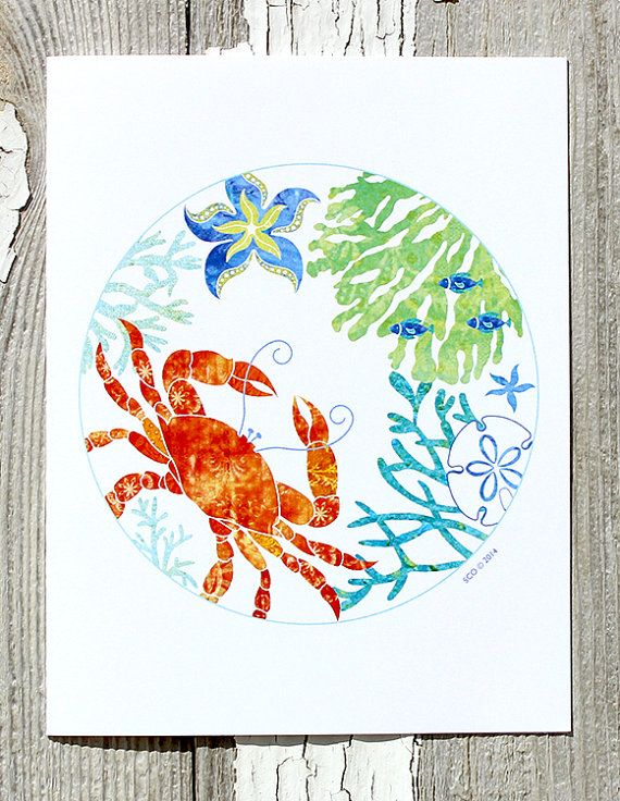 Note Card / Red Crab / Starfish / Seagrasses / Fish / Beach Art / All Occasion / Printed from My Original Coastal Illustration