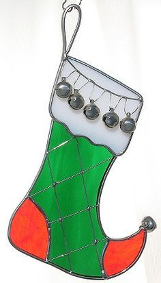 Christmas Stocking with bells stained glass suncatcher