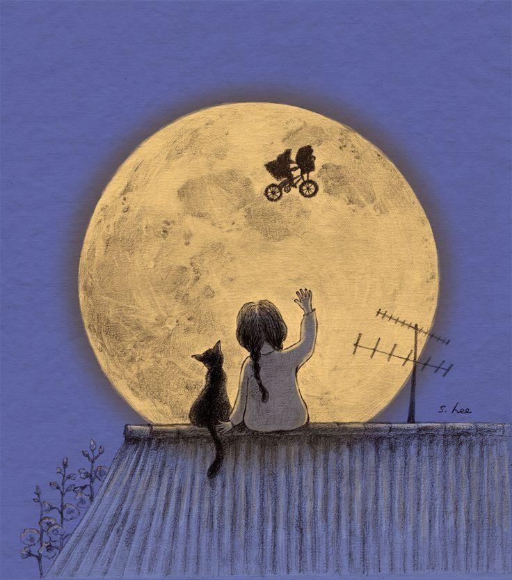 꼭 무슨 일이 일어날 것 같은 신비로운 밤... 짙푸른 하늘엔 휘영청 커다란 보름달이 떠 있고.... 나의 마음도 저 달처럼 부풀어 올라 도저히 잠을 이룰 수 없었지요.. 그렇게 한참이나 달을 보고 있노라니.. 앗~! 내가 제일 좋아하는 이티가 날아간다!!!봤어? 봤어?? 방금 이티 날아가는 거!!! 우리 둘만의 비밀이야~^^