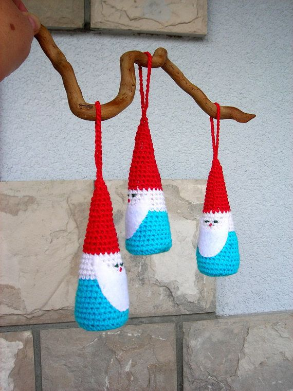 Set of 3 Santa crocheted Christmas ornaments