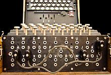 Enigma /  The plugboard (Steckerbrett) was positioned at the front of the machine, below the keys. When in use during World War II, there were ten connections. In this photograph, just two pairs of letters have been swapped (A↔J and S↔O). https://sites.google.com/site/warrenbellauthor/