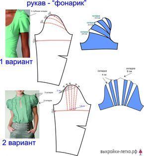 Видоизменение выкройки рукава | Выкройки онлайн и уроки моделирования