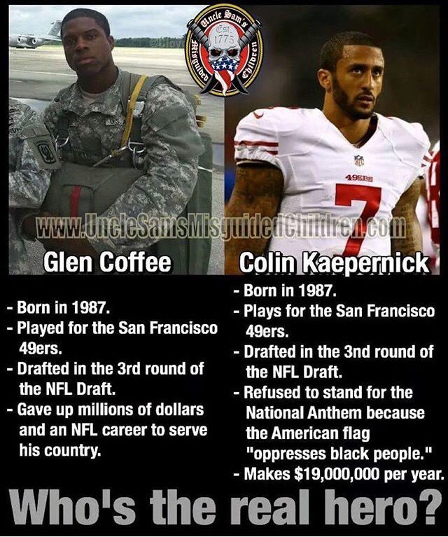 Glen Coffee is one of the many reasons why you stand and respect our American Flag during the National Anthem.