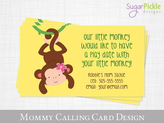 17 best playdate images on pinterest business cards carte de play date calling card monkey design kids calling card business card for moms mom of cards mommy calling card printable jpeg colourmoves