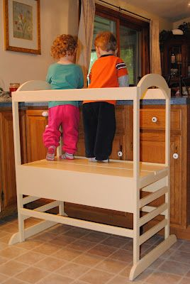 Mama Loves Our DIY Learning Tower---kids can stand (safely) at the kitchen counter---genius!