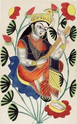 Kalighat painting of Saraswati.