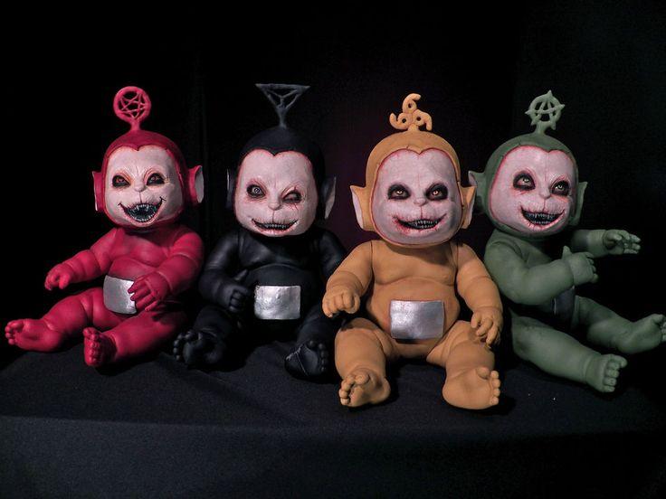 OOAK Krypt Kiddies Teletubbies goth horror demon scary doll evil set