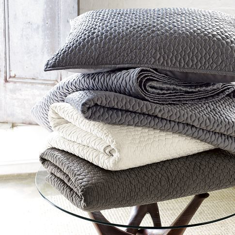 Lexington quilt and shams $119 - gray, pearl, and clay