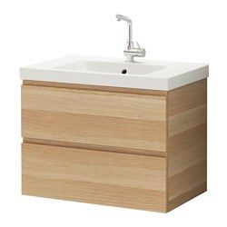 GODMORGON / ODENSVIK Sink cabinet with 2 drawers - white stained oak effect - IKEA