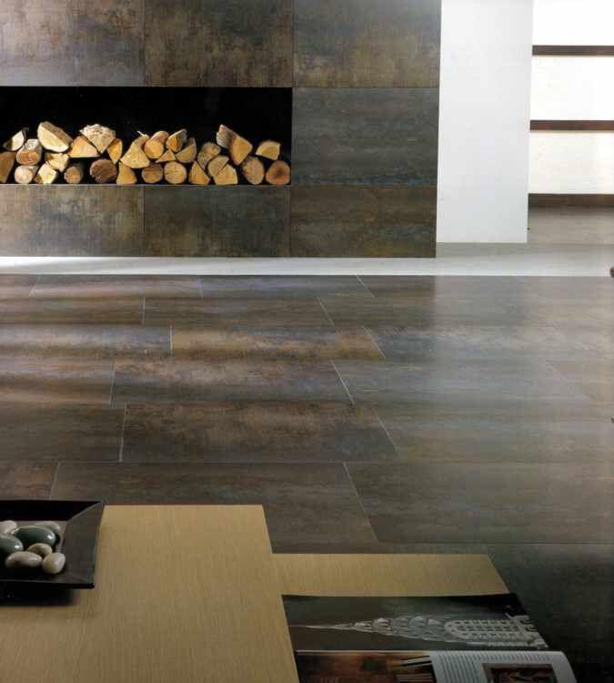 Fliesen in Metalloptik Wohnzimmer Pinterest Fliesen, Große - dunkle fliesen wohnzimmer modern