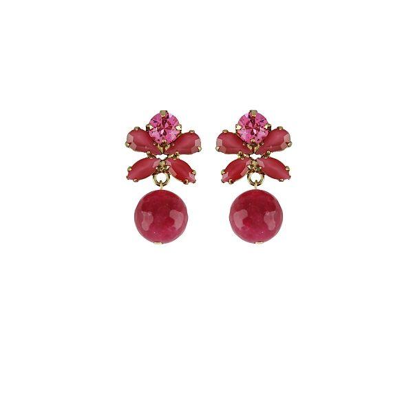 Earrings Souvenirs de Pomme -  Favorite Fuchsia Uni Shop here: www.souvenirsdepomme.be #earrings #costume #jewelry #jewellery #souvenirs #de #pomme #belgian #fashion #brand #swarovski