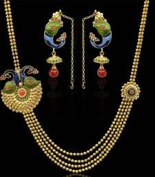 Traditional maroon green bridal india peacock motif necklace set