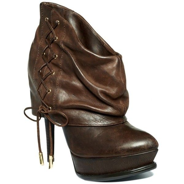 Guess By Marciano Women's Shoes, Rioko Booties ($67) ❤ liked on Polyvore featuring shoes, boots, ankle booties, booties, heels, botas, women, guess? boots, high heel booties and lace up heel boots