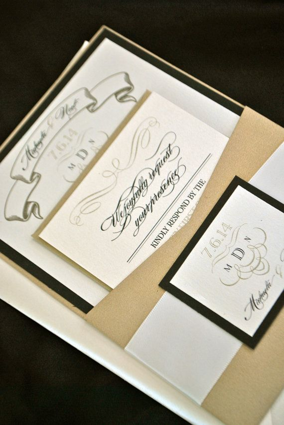 wedding invitation date wording etiquette%0A Black and Ivory Wedding Invitation by OuttheBoxCreative on Etsy