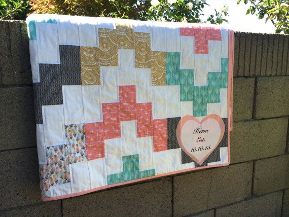 Modern Quilt Custom Triangle Quilt Made to order by LisasQuiltShop