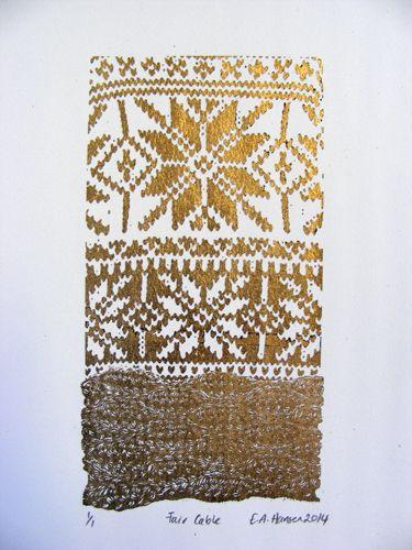 E A Hansen, Fair Cable, 2014, digital print with gold leaf