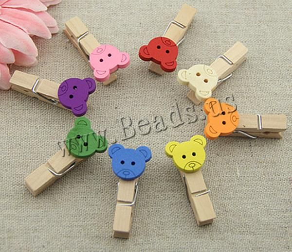 Wood Clip, Bear, brushwork, mixed colors