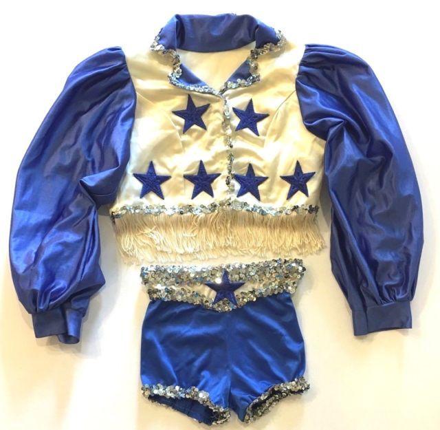 Handmade Dallas Cowboys Cheerleader Costume Little Girl Sequins Fringe Satin | eBay