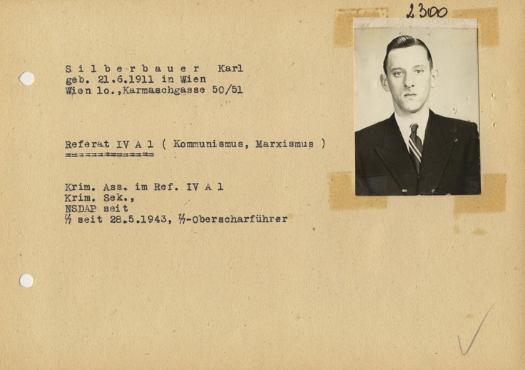 This is the 1946 police ID of Karl Silberbauer (1911-1972), an Austrian Sicherheitsdienst non-commissioned officer, who, when serving in occupied Holland, arrested Anne Frank and her family in 1944. Nazi hunter Simon Wiesenthal was challenged by Holocaust deniers in 1958 to prove the truth of Anne Frank's story. In 1963, the Wiesenthal Center finally found Silberbauer in Vienna, where he had been reinstated by the Kriminalpolizei in 1954. He confirmed the details of the Frank hiding place.