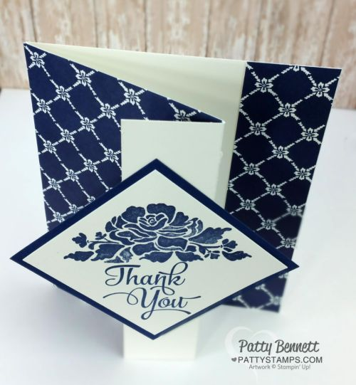 Learn how to make a Z Fold Card featuring the Floral Boutique paper and Floral Phrases stamp set from Stampin' Up!. Video tutorial by Patty Bennett