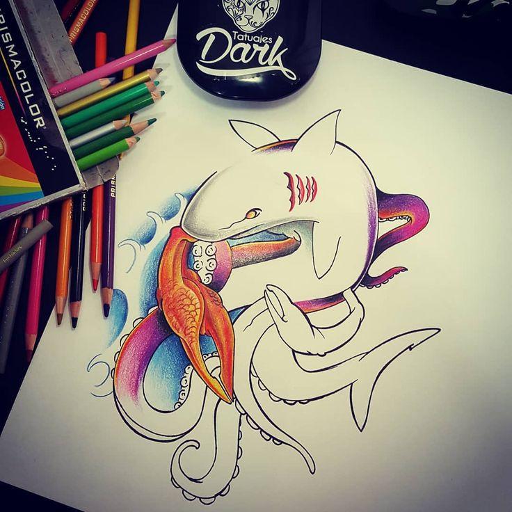 Otra vez dibujando...empezando el año creando monstruos marinos jaja rara mezcla empezaré a sacar ideas pendientes... #darkshark #shark #octopus #crab #sealife #beach #veracruz #mexico #ideasfrescas #dibujo #prismacolor #bocetos #tattooidea #tattooflash #2018