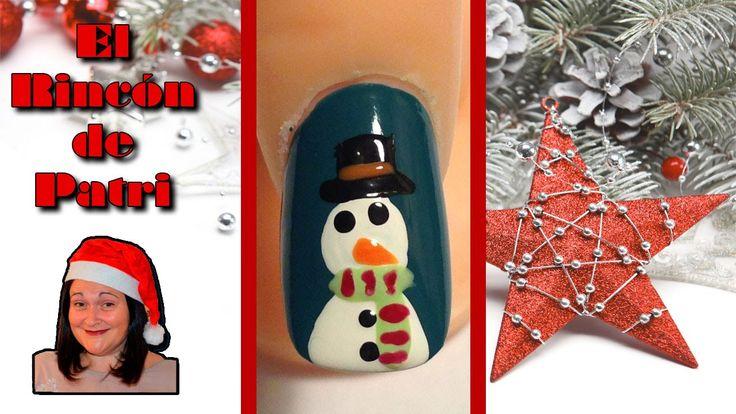 Diseño de uñas de muñeco de nieve de El rincón de Patri Nail Art. Sigue todos nuestros diseños de decoración de uñas en http://www.rincondepatri.com Snow Man Nail Art