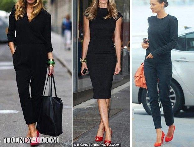 Красные туфли на уличных модницах