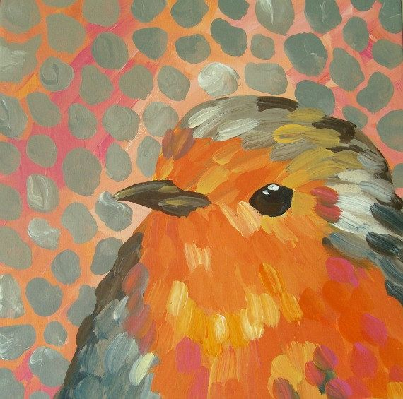 "Bird Painting Coral Gray Impressionistic Baby Robin Art Canvas 12"" x 12"" on Etsy, $85.00"