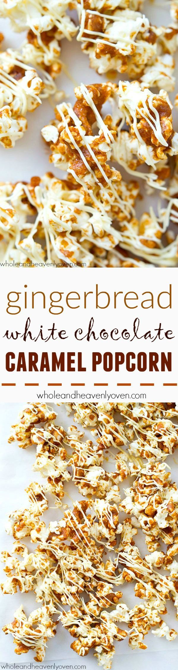 Coated in a gingerbread-spiced caramel sauce and drizzled with plenty of white chocolate, this dynamite caramel popcorn is nearly impossible to stop eating! @WholeHeavenly