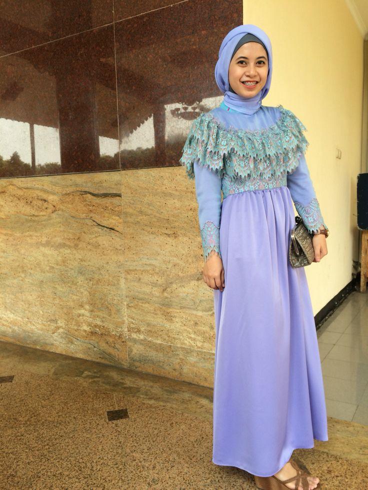 Blue-purple hijab dress