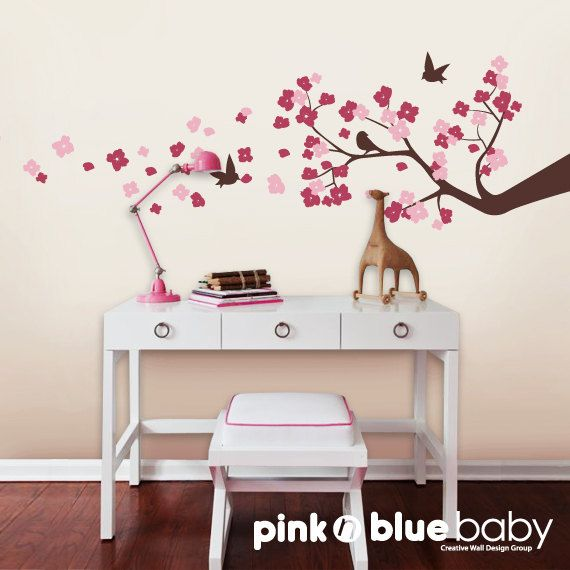 Wall Decals, Cherry Blossom Branch, Birds,  Nursery Kids Removable Wall Decal. $53.00, via Etsy.