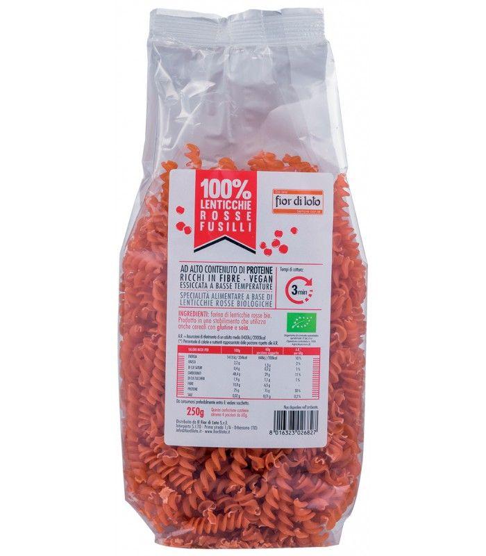 FUSILLI DI LENTICCHIE ROSSE BIO Solo farina di lenticchie rosse per un piatto di pasta davvero unico, sostanzioso, ad alto contenuto di proteine e fibre e ideale in una dieta vegan!