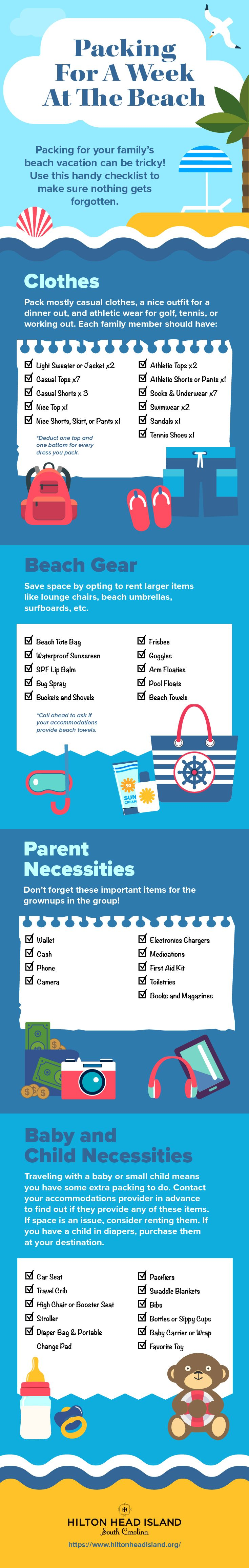 Infographic: How to Pack for Your Family Beach Vacation | Traveling with kids or babies? Use this handy vacation packing checklist to make packing for a week at the beach a breeze! {Click to learn more about vacationing on Hilton Head Island, South Carolina.}
