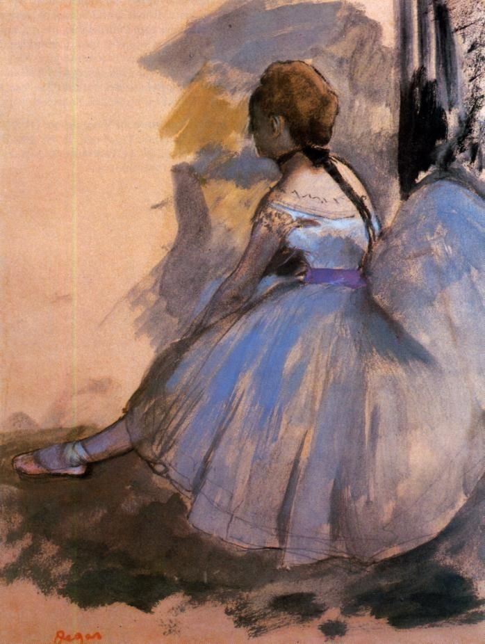 Edgar Degas - Dancer seated, study (1872) Edges cropped.