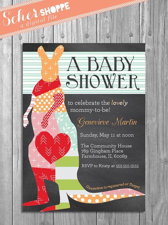 Kangaroo Baby Shower Invitation // Rustic Chalkboard Baby Shower Invite // Girl // Boy // Animal Baby Shower // digital, printable, custo