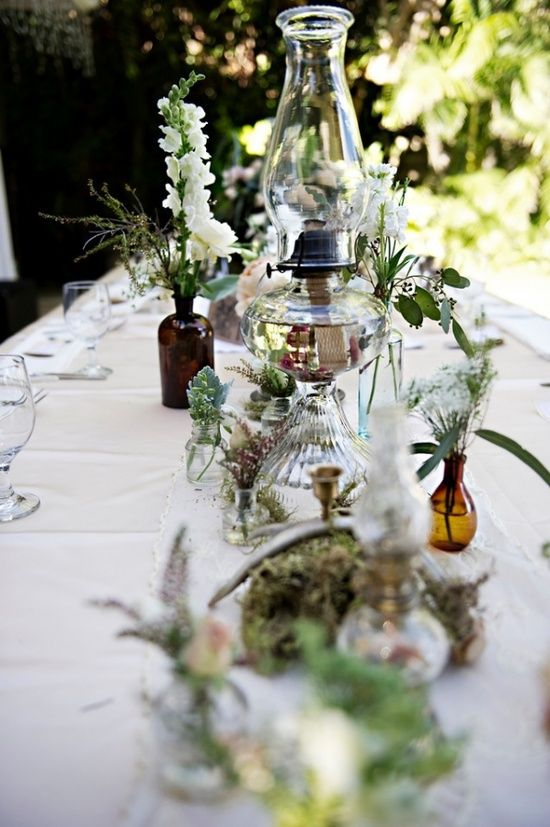 oil lamp wedding centerpieces | Autumn Plum Wedding / oil lamp centerpiece