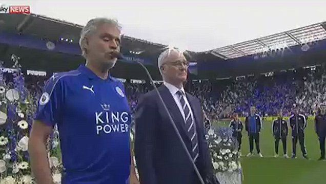 Leicester Football club have won the Premiere League trophy. The historical moment of Leicester's new title success, saw a rousing rendition of Nessun Dorma by Italian tenor Andrea Bocelli wearing a Leicester city football shirt
