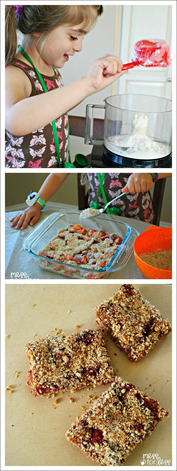Strawberry Breakfast Bars - make these with the kids. They taste better than the cereal bars you find in store and are better for you!