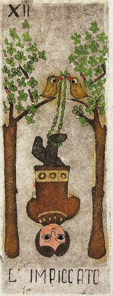 """Hanged Man - La Corte dei Tarocchi  Creado por Anna Maria D'Onofrio.  Tarot en formato tradicional de 78 cartas.  Edición Limitada y numerada de 1100 ejemplares  Publicado por """"Il Meneghello"""" (Milán, Italia) en 1999"""