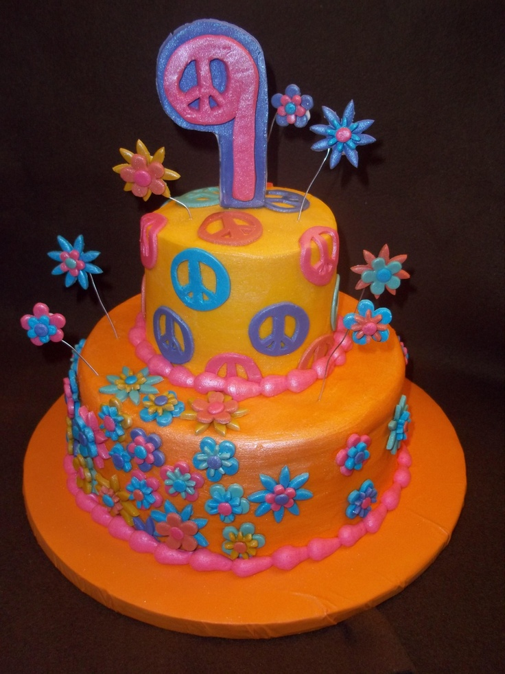 Peace Sign Birthday cake #birthdaycake