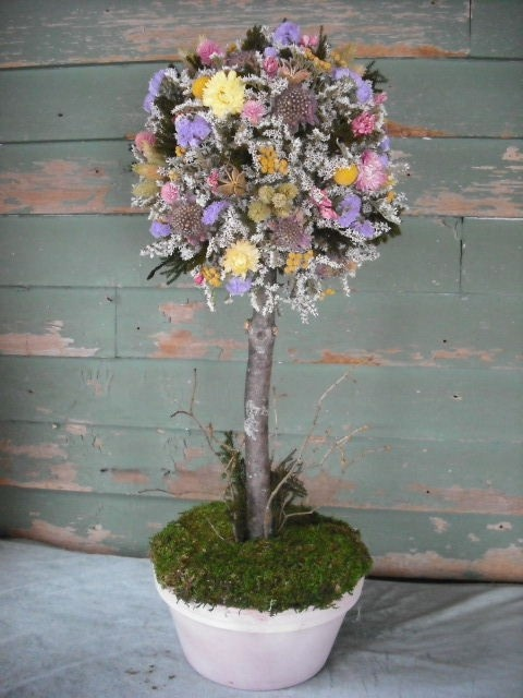 Large dried flower and moss topiary floral by NHWoodscreations, $95.00